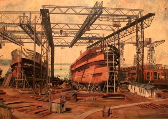 Abbildung 6: Helgen der Howaldtswerke in den 1930ger Jahren (Kieler Stadt- & Schifffahrtsmuseum)