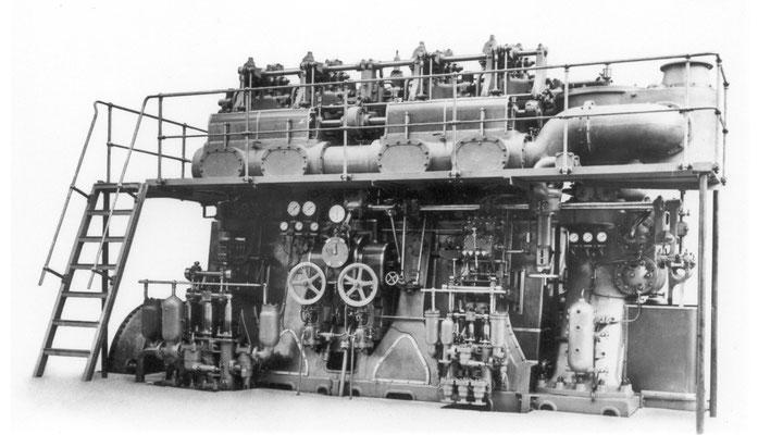Einer der zwei Sulzer Dieselmotoren der MONTE PENEDO (Quelle Sulzer)