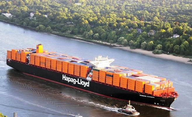 Abbildung 9: Hapag-Lloyd Containerschiff  mit Mittelspannungs-Wellengeneratoren und speziellen Pulswechselrichtern  (Quelle Horn)