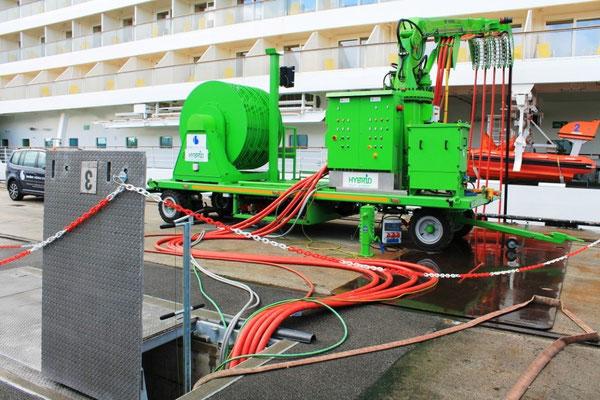 Stromkabel zum Kreuzfahrtschiff (Foto Dr. Hochhaus)