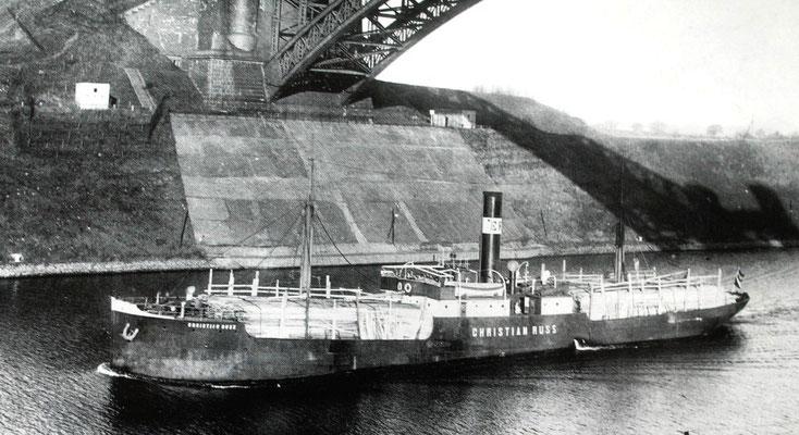 Christian Russ, 1907 von den Stettiner Oderwerken als Bau Nr. 589 abgeliefert (Quelle Ernst Russ 100 Jahre)