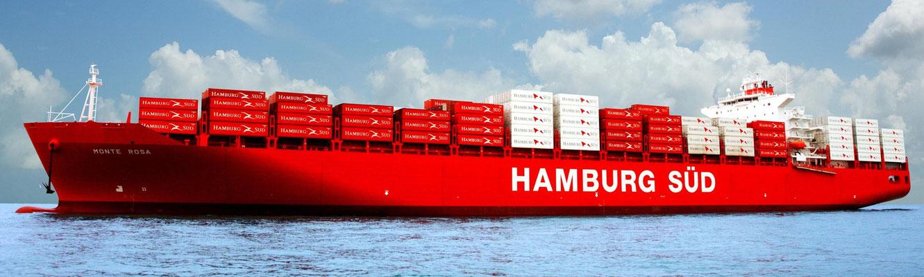 Abbildung 1: Die Monte Rosa (Monte-Klasse) der Reederei Hamburg Süd gehört mit 1.365 Steckdosen für Kühlcontainer ebenso wie die etwas größere Rio Klasse zu den Containerschiffen mit der größten Kühlcontainerkapazität (Quelle Hamburg Süd)
