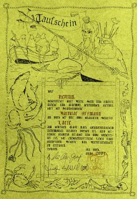 Die 1. Taufurkunde  nach langem Lattenschlaf, von Dr. B. Müller-Graf und Dr. J. Wessel unterschrieben  (Quelle Latte)