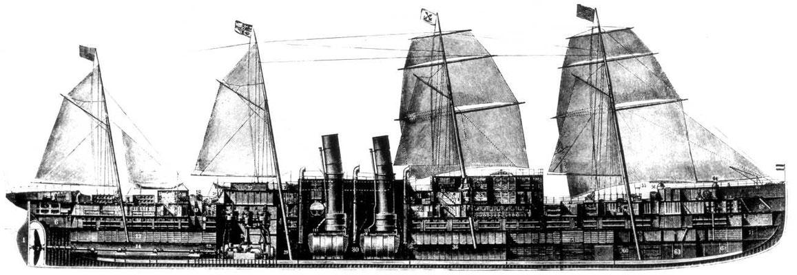 Abbildung 18: Längsschnitt durch die ELBE, der 1. Schnelldampfer für den NDL, geb. 1881  (Werft: Elder, Glasgow), 4.510 BRT, 5.200 PSi, 16 K, 1.100 Passagiere und 148 Besatzung (Quelle DSM)
