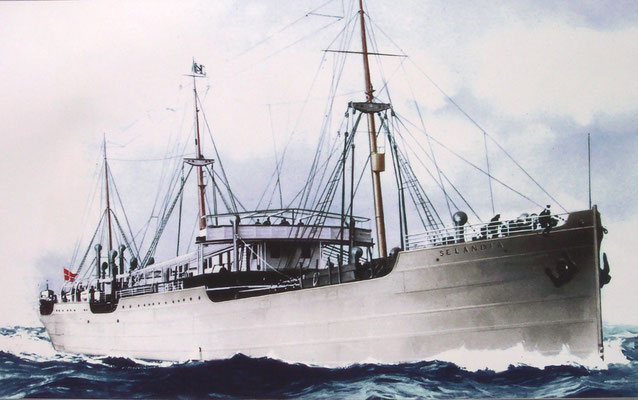Der erste größere Frachter mit Dieselmotorantrieb (Quelle MAN B&W)