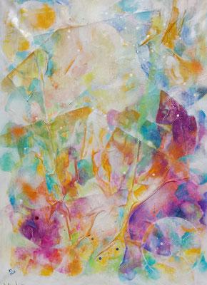 Atem der Farben, Acryl Collage 117 x 84, 2020