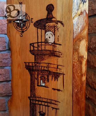 Holzwerk PS - Brandmalerei - Leuchtturm in Skizzentechnik als Brandmalerei
