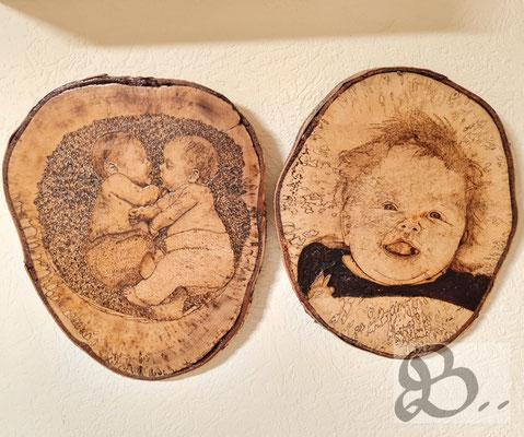 Holzwerk Peter Stoiber - Portrait auf Baumscheibe, Kinderbilder in der Brandmalerei