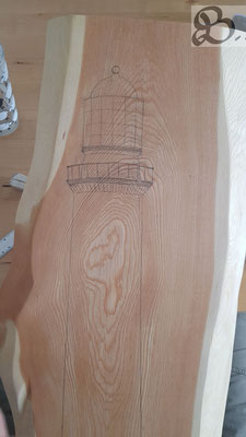 Erste Skizze des Leuchtturmes auf dem Lärchenholz