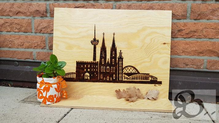 Holzwerk Peter Stoiber - Brandmalerei - Brandbild der Skyline von Köln