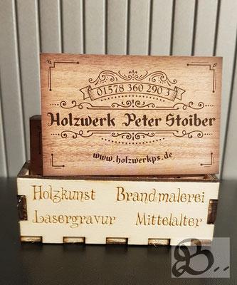 Holzwerk Peter Stoiber - Lasergravur - Visitenkartenbox personalisiert