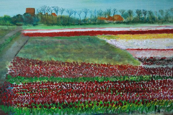 2. Bollenveld, met uitzicht op de Abdij van Egmond, realistisch?, doek 1, olieverf 2021