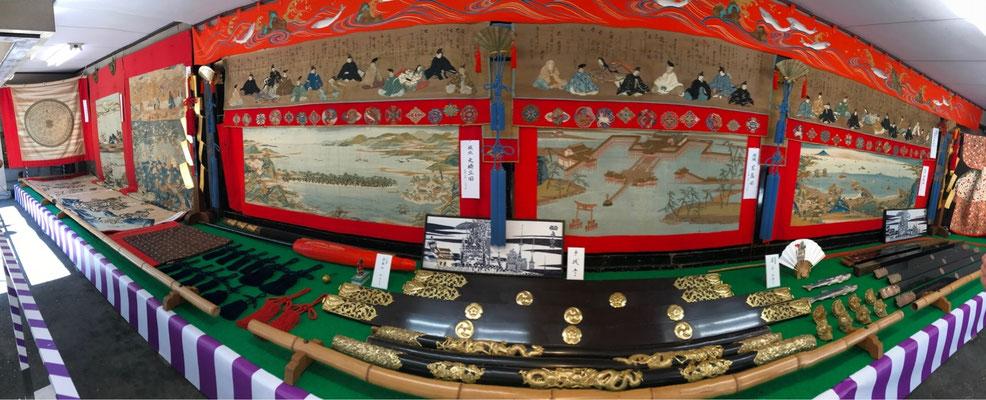 水引「三十六歌仙図」・前懸は日本三景より「宮島」、胴懸は日本三景より「松島」と「天橋立」の綴錦