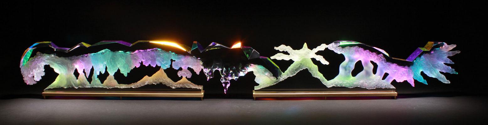 Luminescence prism/2015/偏光フィルム・アクリル・木材/H25×W170×D7cm