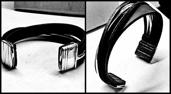Bracelet homme - cuir et argent 925 - commande sur mesure d'après idée originale du client