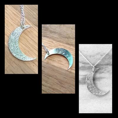 Pendentif Lune personnalisé prénom - argent 925 - création originale d'après idée du client