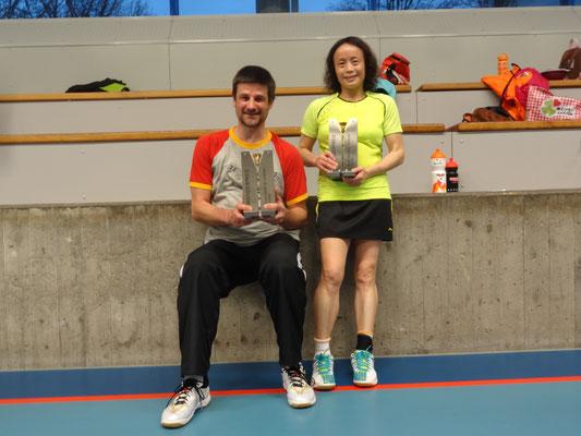 Sieger des Doppelturnieres - Yu und René