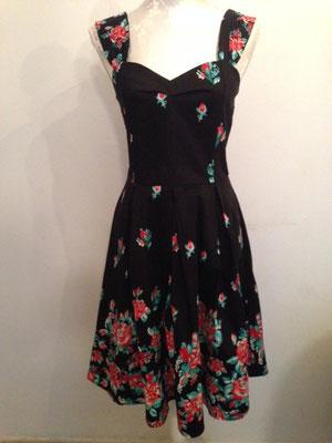 Sehr schönes schwarzes Kleid mit roten Rosen, fifties Style