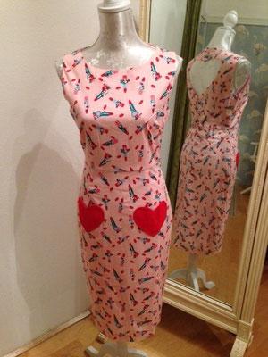 Lipstick Kleid mit Herzausschnitt hinten, Baumwolle gr 36
