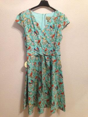 Kleid in Wickeloptik mit Vögel Gr 38