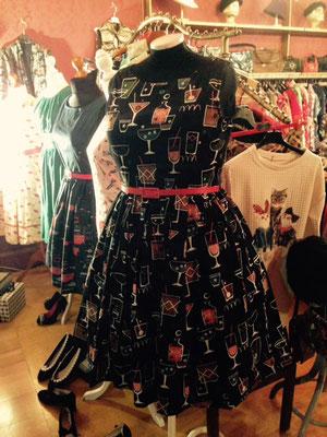 Kleid mit Cocktailgläsern, Baumwolle gr 42-44