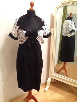 Kleid mit Polka Dotts, 50er Jahre Style Kleid, Baumwolle  gr 44