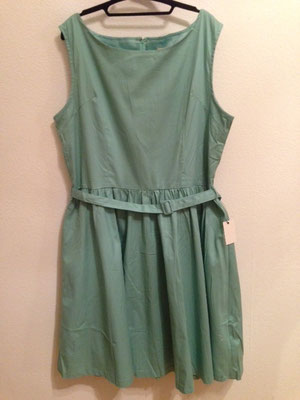 Lindgrünes Kleid, 50er Jahre Style Kleid, Baumwolle   gr 48
