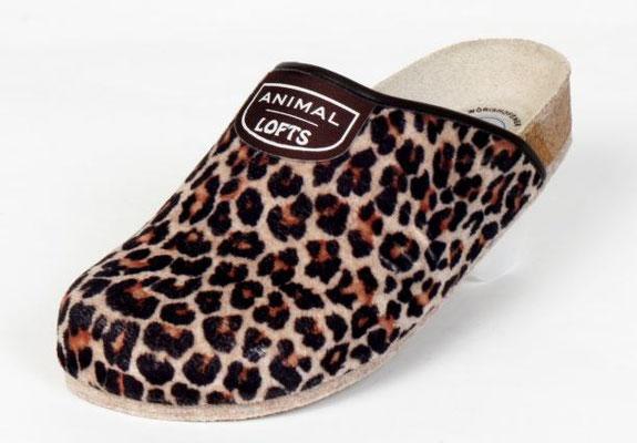 Animallofts Leopard, Produkt-Information  Lofts kommen auf leisen Sohlen. Schuhe bzw. Pantoffel für Zuhause, mit einer speziellen Filzsohle. Noppen verhindern ein ausrutschen. Preis: 39,90.-€