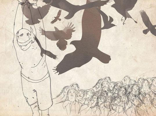"""Märchenillustration """"Die drei Sprachen"""" von D. Mariani, für das Grimmland-Projekt des Goetheinstituts Rom, 2012  http://www.goethe.de/ins/it/lp/prj/gri/ewe/mar/deindex.htm"""