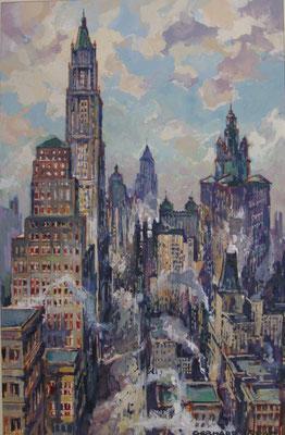 Straßenschlucht in New York, 1927, Gouache, 22,5 x 14,5, sign., Privatbesitz Werder/Havel, WVZ 0188