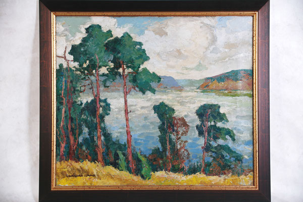 0020 Märkischer See mit Kiefern und steilen Ufern in den 1930er Jahren, Öl Lw, 61 x 70, u l sign, Foto Meinert