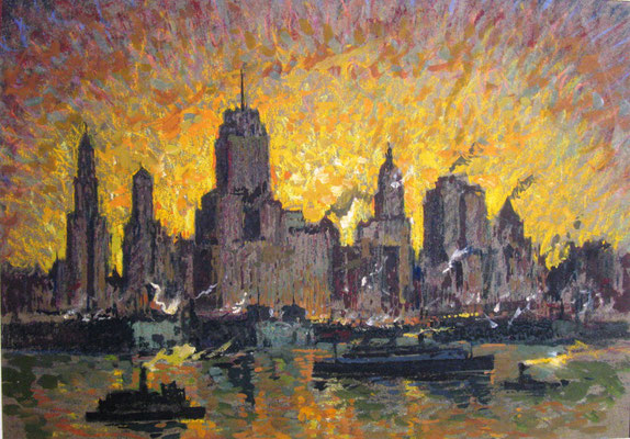 Die Skyline von New York, 1927, Gouache, 19,5 x 27, 5, Privatbesitz Werder/Havel, WVZ 0182