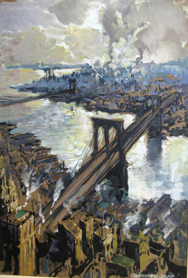 Die Brooklyn Bridge in New York, 1927, Gouache, 28 x 20, sign., Privatbesitz Werder/Havel, WVZ 0184