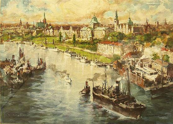 Stettin - Hakenterrasse, Gouache, ca. 1932, 48 x 66, r. u. sign., l. u. betitelt, WVZ 0359