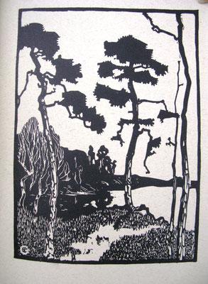 Berlin - Kiefern am Grunewaldsee I, Holzschnitt, 23 x 16,5, l.u. monogrammiert, Besitz GGG Werder/Havel, WVZ 0039