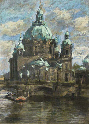 0216 Ansicht des Berliner Doms, Pastell, Anfang der 20er Jahre, 46 x 33, li. u. sign.
