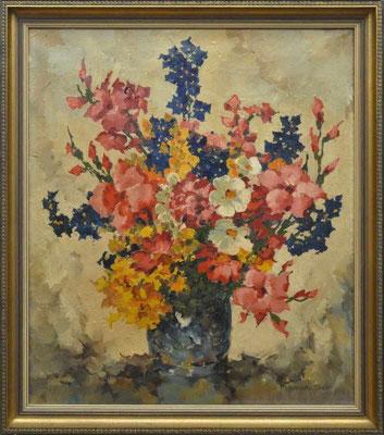 0591 Blumenstrauß mit Gladiolen in einer Vase, Öl auf Leinwand, 60 x 50, r. u. sign.