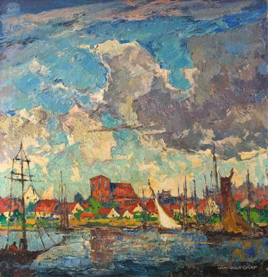 0155 Blick über den Ryck auf Greifswald, Öl auf Leinwand, 70 x 68 cm, r. u. sign., verso bez., gerahmt