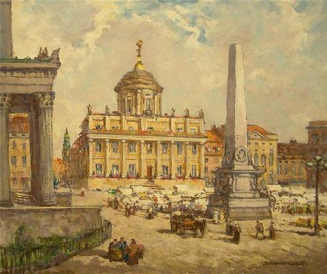 Potsdam, Markt vor dem Alten Rathaus, Öl Lwd, ca. 1930, 60 x 70, Privatbesitz Potsdam