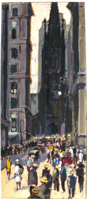 St. Patick's Cathedral in New York, 1927, Gouache, 22,5 x 9,7, Privatbesitz Werder/Havel, WVZ 0187