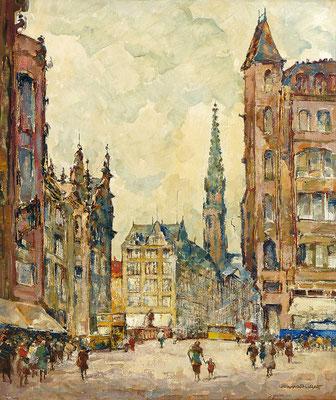 0240 Berlin - Der Spittelmarkt um 1930 mit Blick über die Gertraudenbrücke auf die Petrikirche II, Öl auf Leinwand, 70 x 60 cm, r. u. sign., gerahmt