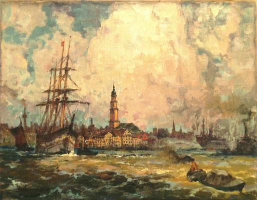 0053 Aufziehendes Wetter über dem Hamburger Hafen III, Öl Lw, 70,5 x 91, u l sign, nicht gerahmt