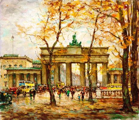 0073 Brandenburger Tor im Herbst I, Öl Lw, um 1930, 60 x 70, r. u. sign.