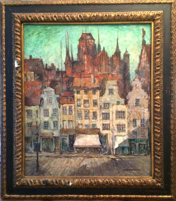 0272 Ansicht von Danzig um 1930 - Straßenszene mit giebelständigen Backsteinhäusern vor St. Marien II, Öl Lw, 81 x 68, br. GoldstuckR (besch.)
