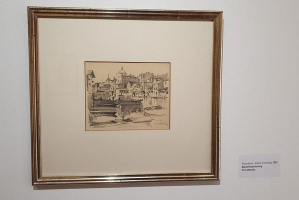 0335 Potsdam - Kleinvenedig, Bleistiftzeichnung 1932, 16 x 19 cm, r. u. sign. und dat.