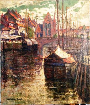 0213 Der Fischmarkt in Königsberg um 1920 VI, Öl Lw, 70 x 60, u l sign, nicht gerahmt