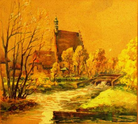 Bydgoszcz, widok na kościół katedralny św. Marcina i Mikołaja . Gwasz ok.1926 r. 34 x 37, r. u. Podpis i tytuł  na passepartout, własność prywatna Berlin.
