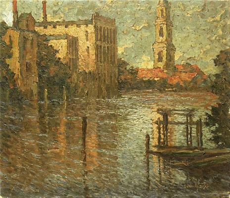 Potsdam: Alte Fahrt mit Blick auf die Heiligengeistkirche, Öl Lwd., um 1920, 60 x 70, WVZ-Nr. 0357, Standort unbekannt,