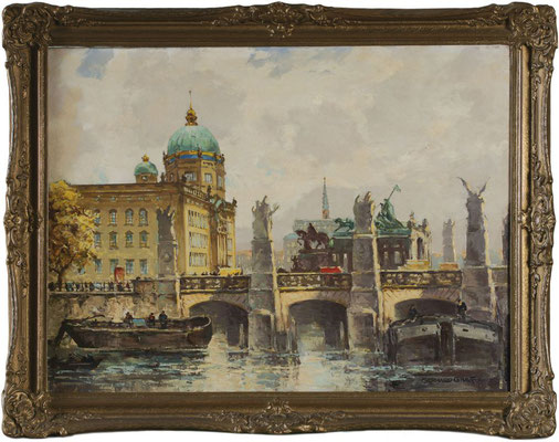 0510 Berlin - Blick über Spree und Schlossbrücke auf das Stadtschloss IV, Öl Lwd, vor 1923, 60 x 80, r u sign.