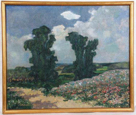 0133 Sommerlandschaft mit bluehender Wiese, Öl Lw, 67 x 80, l. u. sign.